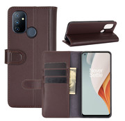 OPPRO OnePlus Nord N100 Wallet Case Genuine Leather Brown