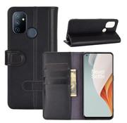 OPPRO OnePlus Nord N100 Wallet Case Echtleder Schwarz