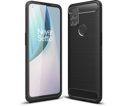 OPPRO OnePlus Nord N10 5G Hoesje Brushed Carbon Zwart