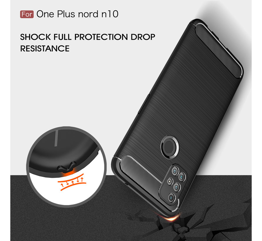 OnePlus Nord N10 5G Hoesje Brushed Carbon Zwart