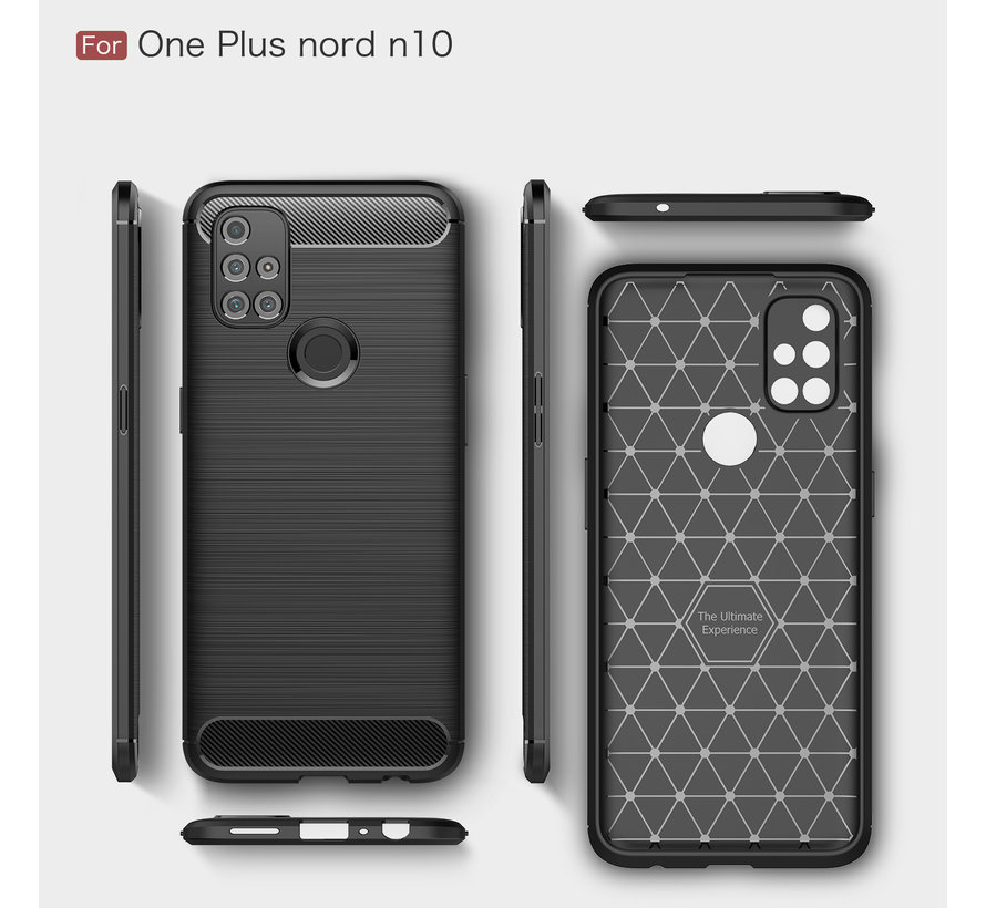 OnePlus Nord N10 5G Hoesje Brushed Carbon Rood
