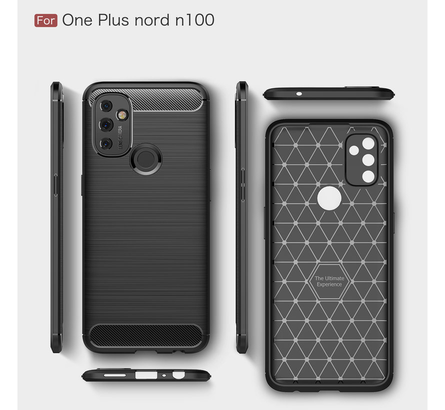 OnePlus Nord N100 Hoesje Brushed Carbon Rood