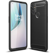 OPPRO OnePlus Nord N100 Hoesje Brushed Carbon Zwart