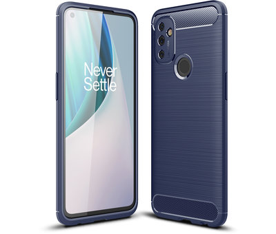OPPRO OnePlus Nord N100 Hoesje Brushed Carbon Blauw