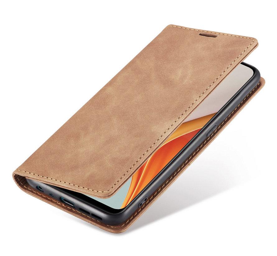 OnePlus Nord N100 Wallet Hoesje Vintage Leder Beige