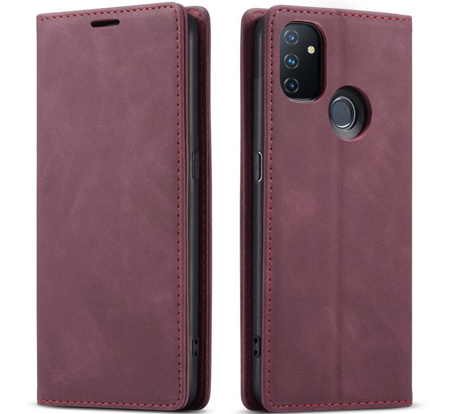 OnePlus Nord N100 Brieftasche Vintage Leder Rot