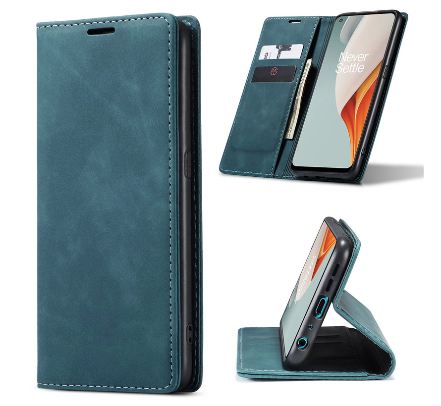 OnePlus Nord N100 Brieftasche Vintage Leder Blau