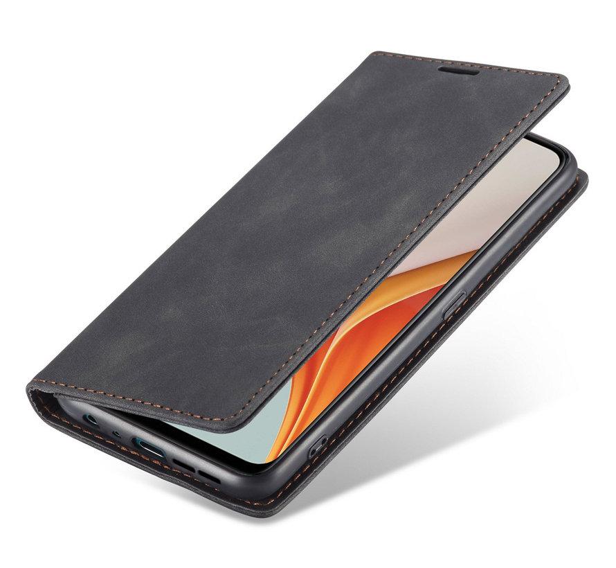 OnePlus Nord N100 Wallet Hoesje Vintage Leder Zwart