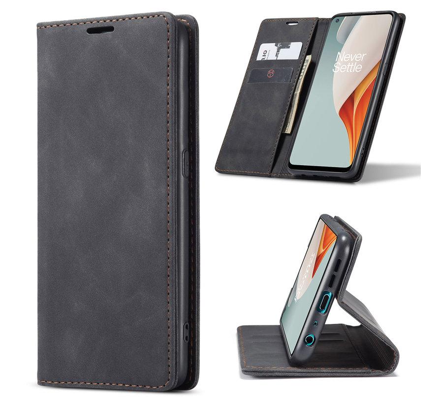 OnePlus Nord N100 Brieftasche Vintage Leder Schwarz