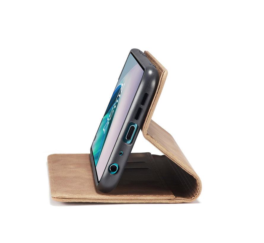 OnePlus Nord N10 5G Wallet Hoesje Vintage Leder Beige