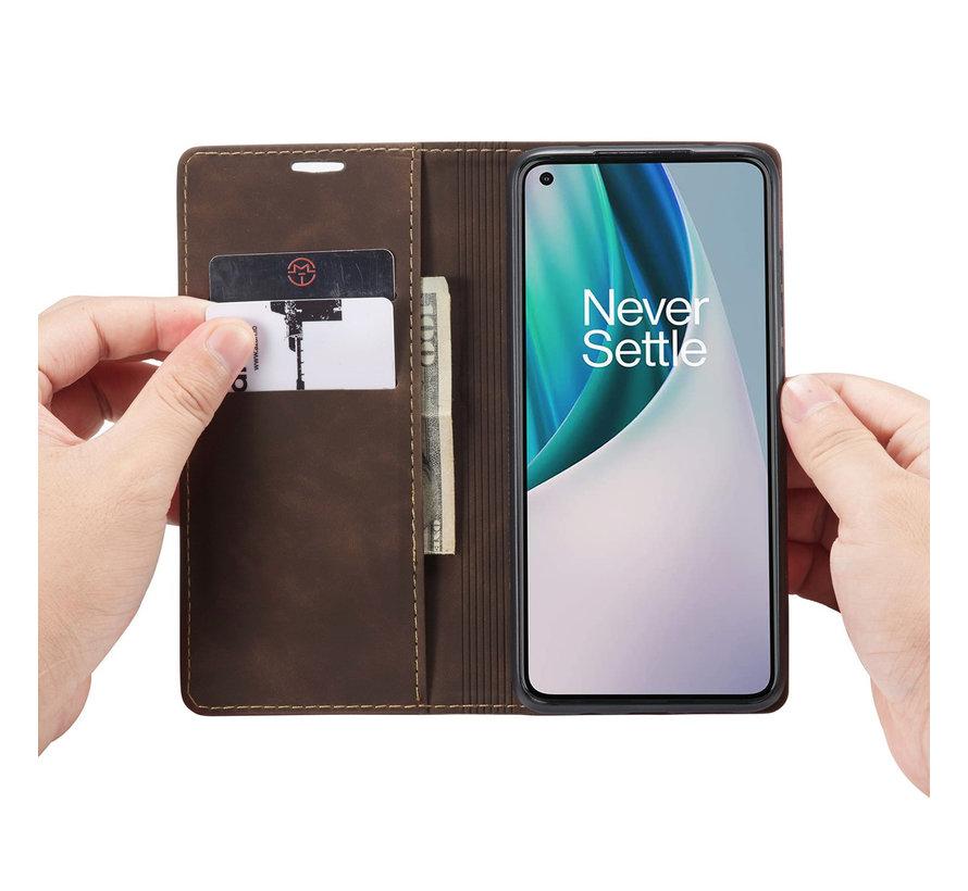 OnePlus Nord N10 5G Wallet Hoesje Vintage Leder Bruin