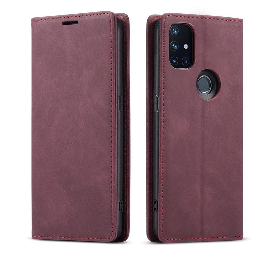 OnePlus Nord N10 5G Wallet Hoesje Vintage Leder Rood