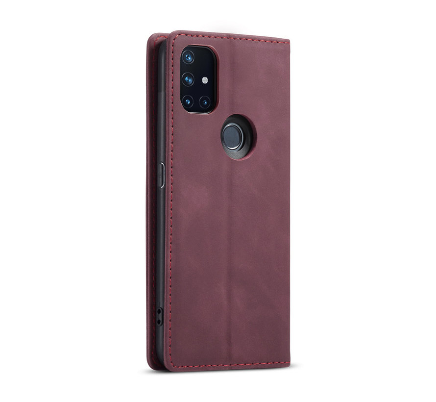 OnePlus Nord N10 5G Brieftasche Vintage Leder Rot