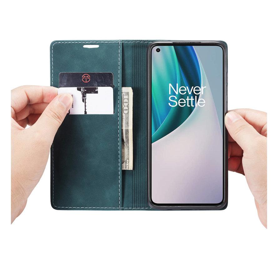 OnePlus Nord N10 5G Wallet Hoesje Vintage Leder Blauw