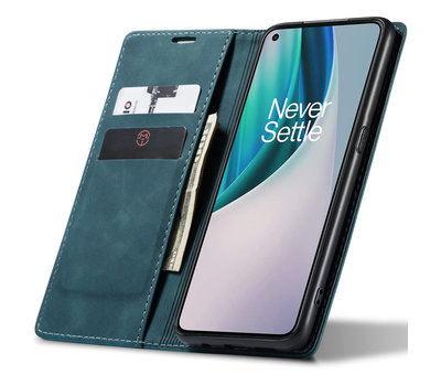 OPPRO OnePlus Nord N10 5G Wallet Hoesje Vintage Leder Blauw