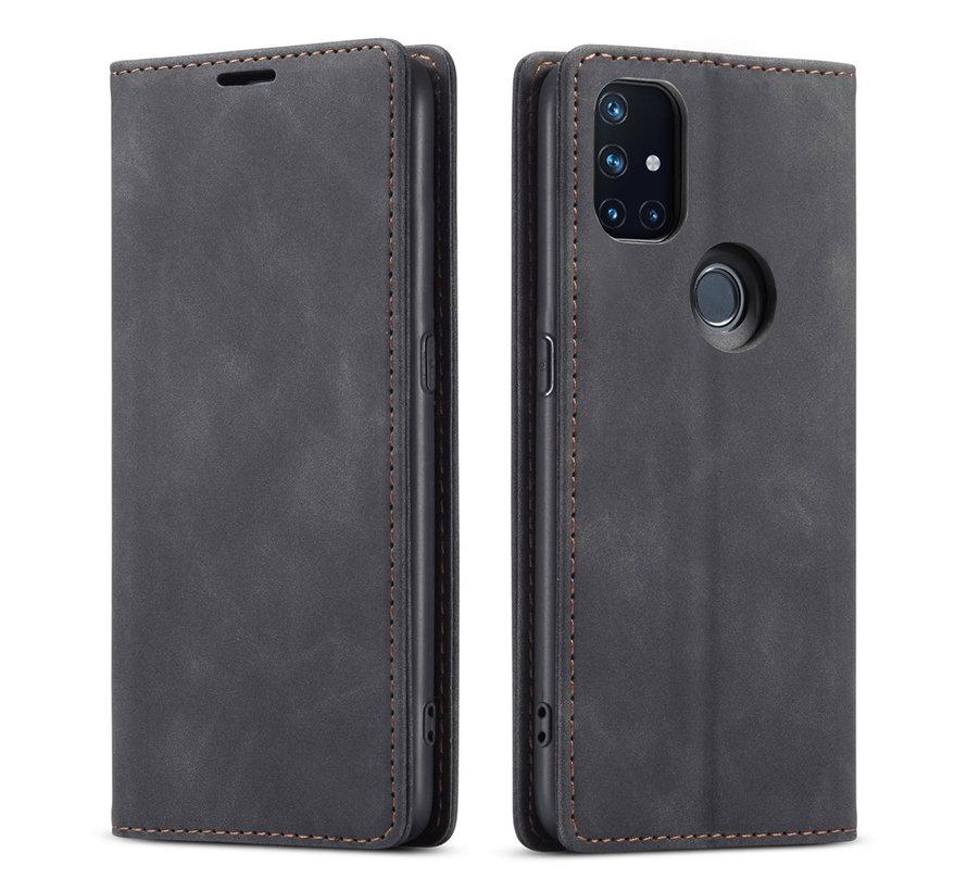 OnePlus Nord N10 5G Wallet Hoesje Vintage Leder Zwart
