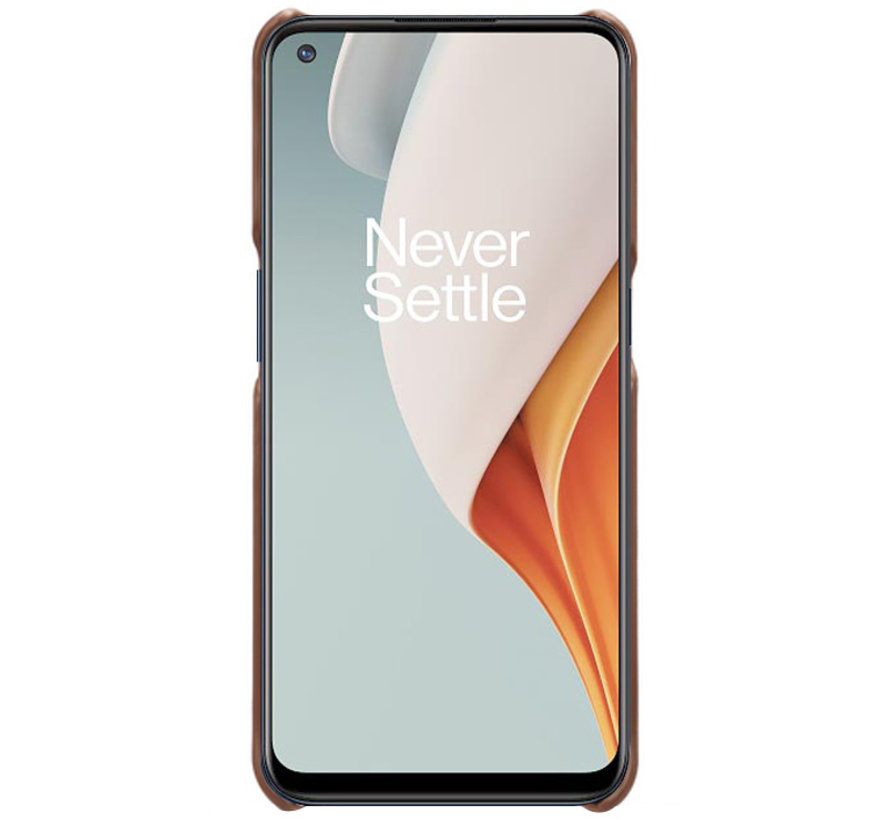 OnePlus 9 Case Slim Leder Kartenhalter Braun