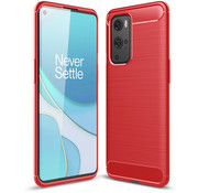 OPPRO OnePlus 9 Pro Hoesje Brushed Carbon Rood