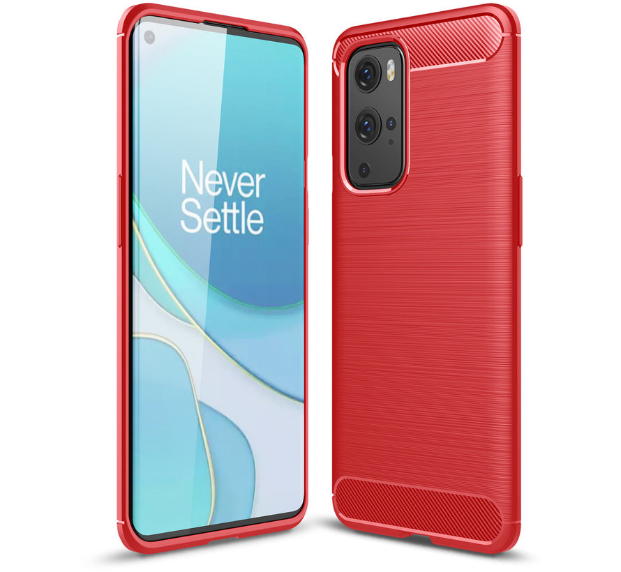 OnePlus 9 Pro Hoesje Brushed Carbon Rood