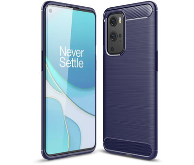 OPPRO OnePlus 9 Pro Hoesje Brushed Carbon Blauw