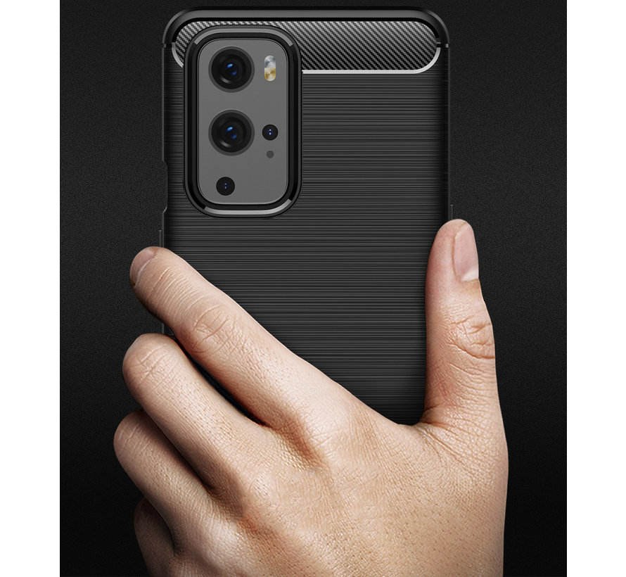 OnePlus 9 Pro Hoesje Brushed Carbon Blauw
