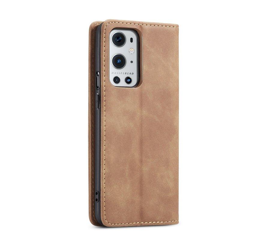 OnePlus 9 Pro Brieftasche Vintage Leder Beige