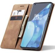 OPPRO OnePlus 9 Pro Wallet Hoesje Vintage Leder Beige