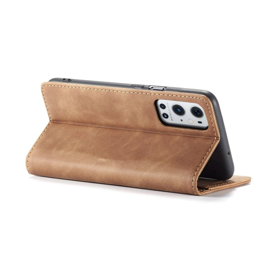 OnePlus 9 Pro Wallet Hoesje Vintage Leder Beige