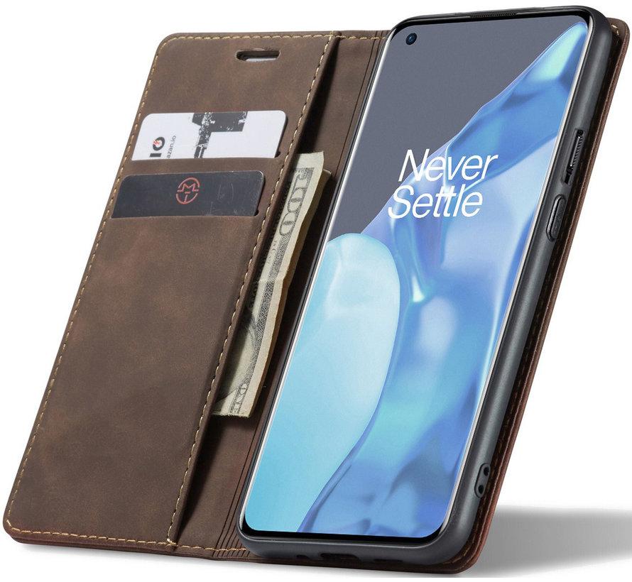 OnePlus 9 Pro Wallet Hoesje Vintage Leder Bruin