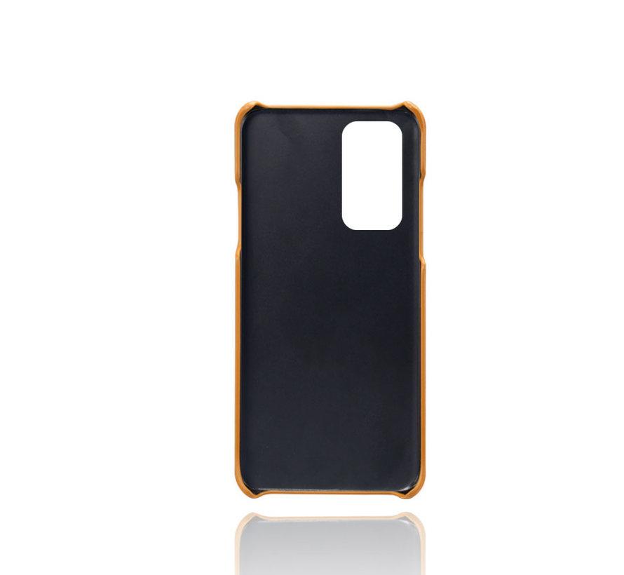 OnePlus 9 Pro Case Kartenhalter aus schmalem Leder Cognac