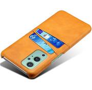OPPRO OnePlus 9 Pro Case Kartenhalter  Leder Cognac