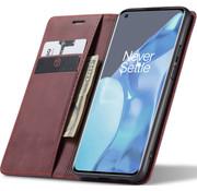 OPPRO OnePlus 9 Pro Wallet Hoesje Vintage Leder Rood
