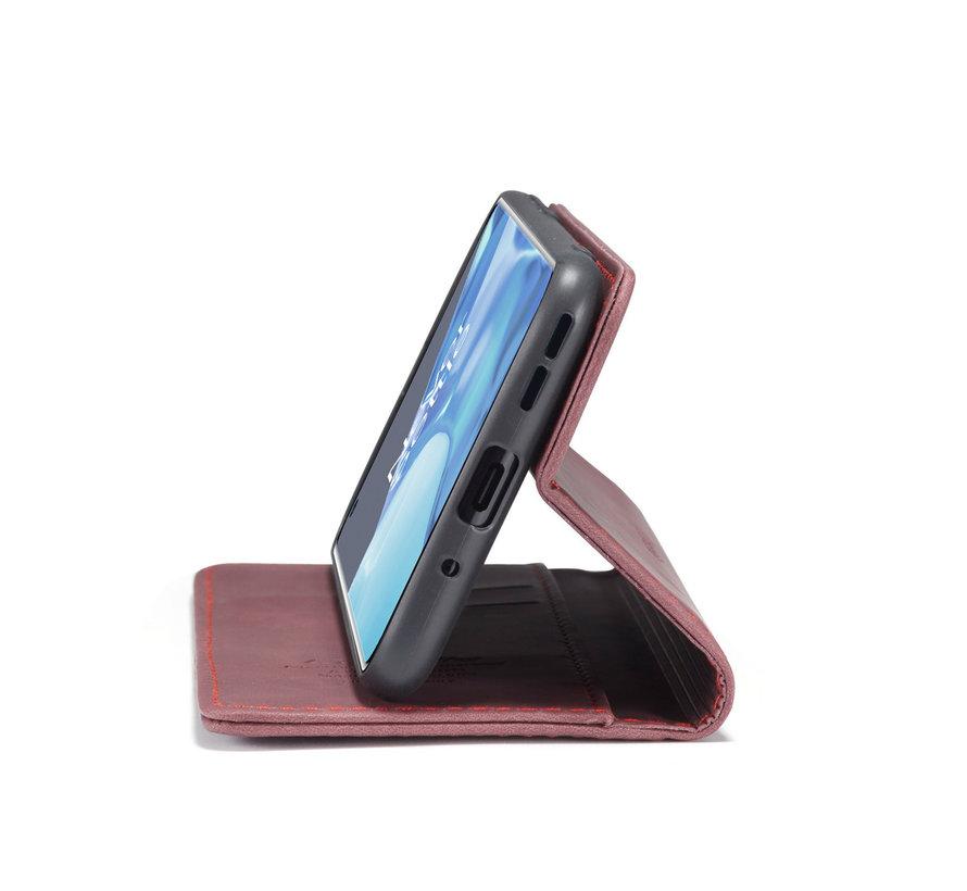 OnePlus 9 Pro Wallet Hoesje Vintage Leder Rood