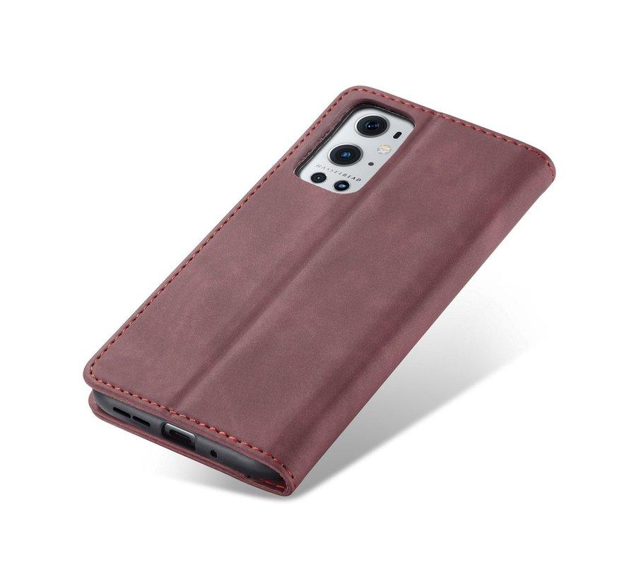 OnePlus 9 Pro Brieftasche Vintage Leder Rot