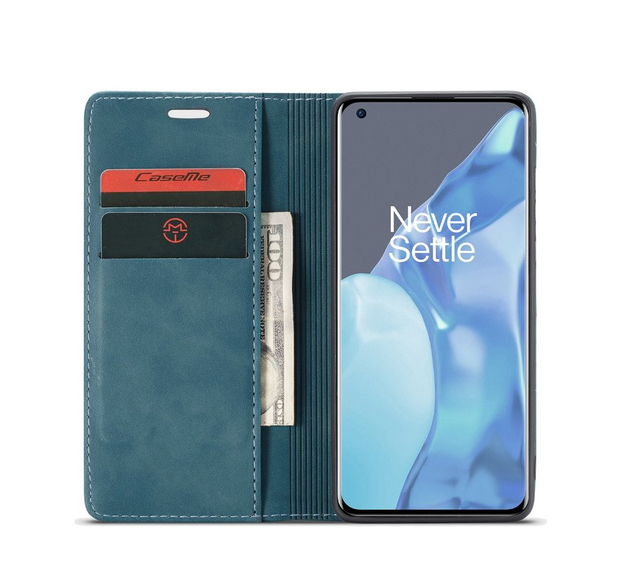 OnePlus 9 Pro Brieftasche Vintage Leder Blau
