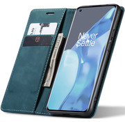 OPPRO OnePlus 9 Pro Wallet Case Vintage Leather Blue