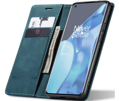 OPPRO OnePlus 9 Pro Brieftasche Vintage Leder Blau