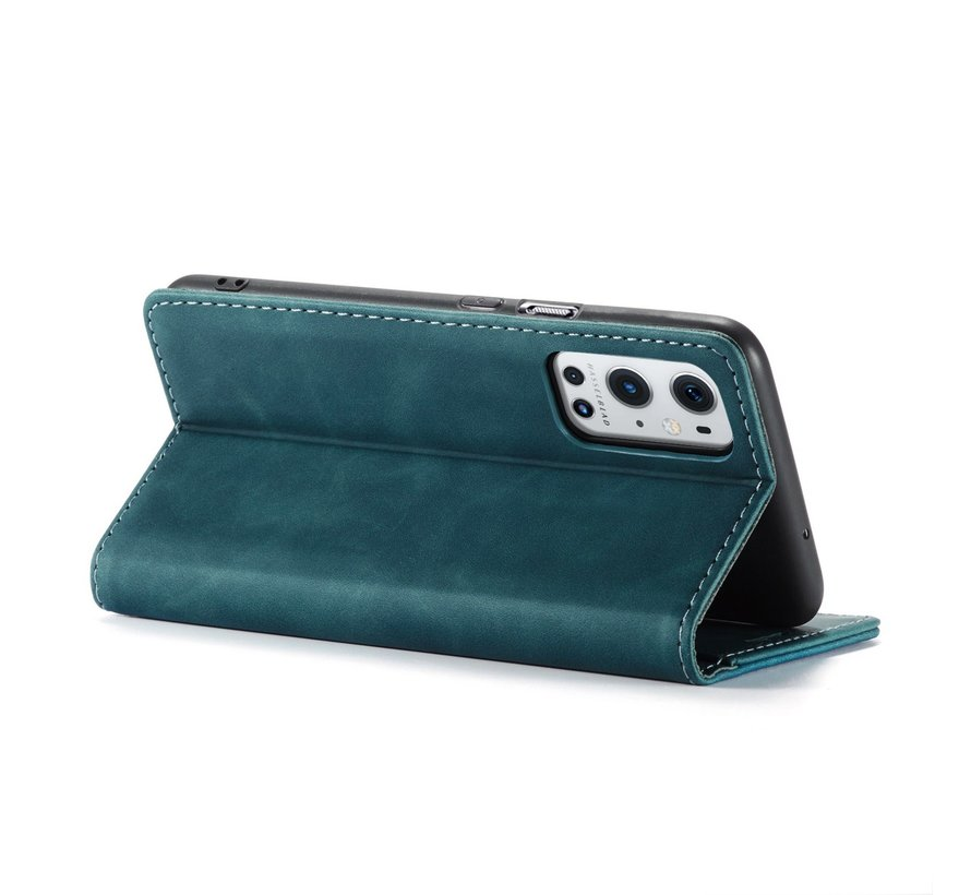 OnePlus 9 Pro Wallet Hoesje Vintage Leder Blauw