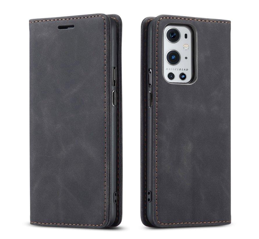 OnePlus 9 Pro Wallet Hoesje Vintage Leder Zwart