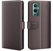 OPPRO OnePlus 9 Pro Brieftasche Etui Echtes Leder Braun