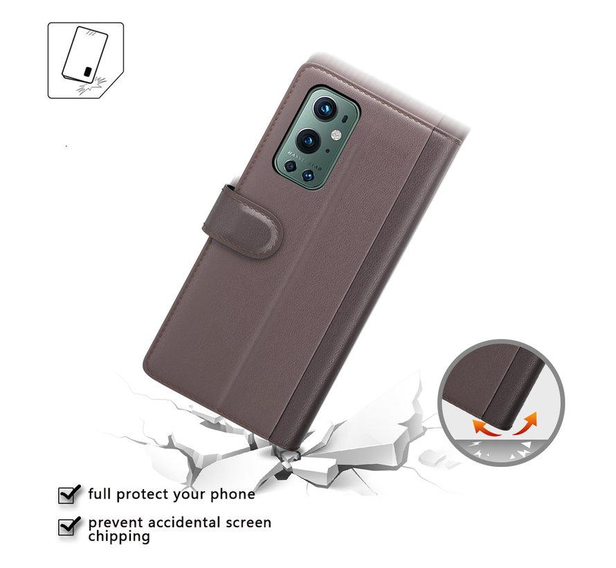 OnePlus 9 Pro Brieftasche Etui Echtes Leder Braun