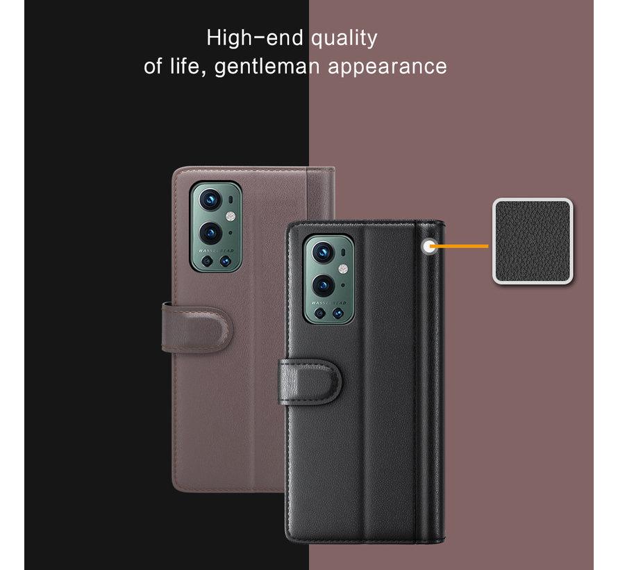 OnePlus 9 Pro Wallet Case Echtleder Schwarz