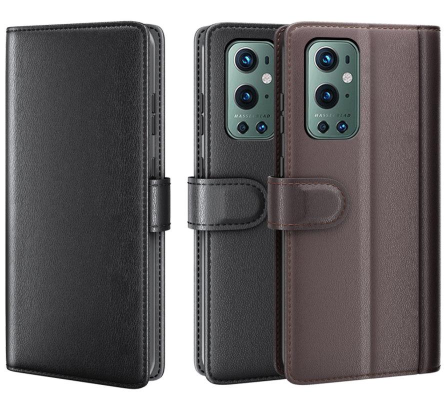 OnePlus 9 Pro Wallet Hoesje Echt Leder Zwart