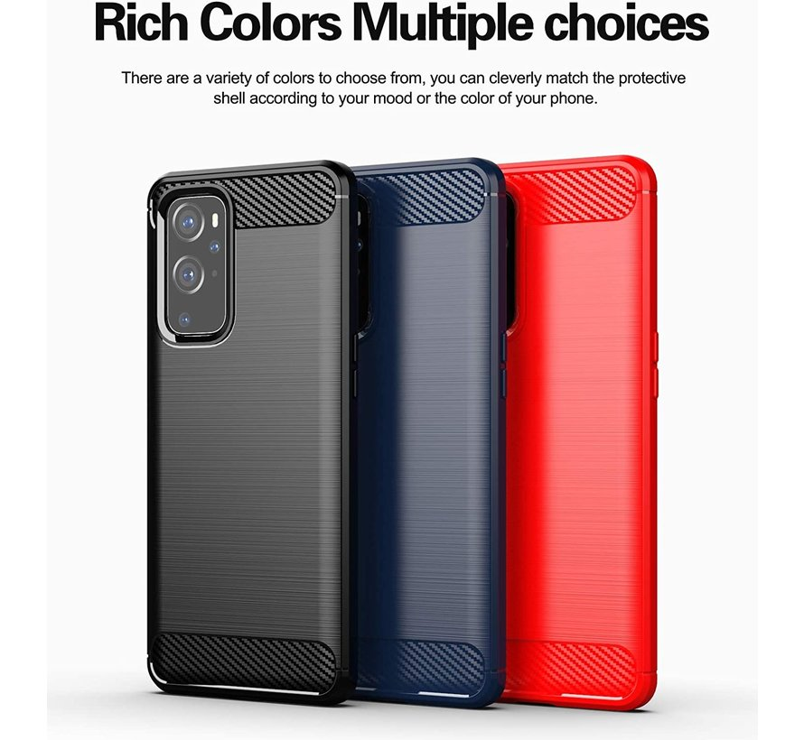 OnePlus 9 Hoesje Brushed Carbon Rood