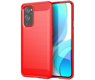OPPRO OnePlus 9 Hoesje Brushed Carbon Rood