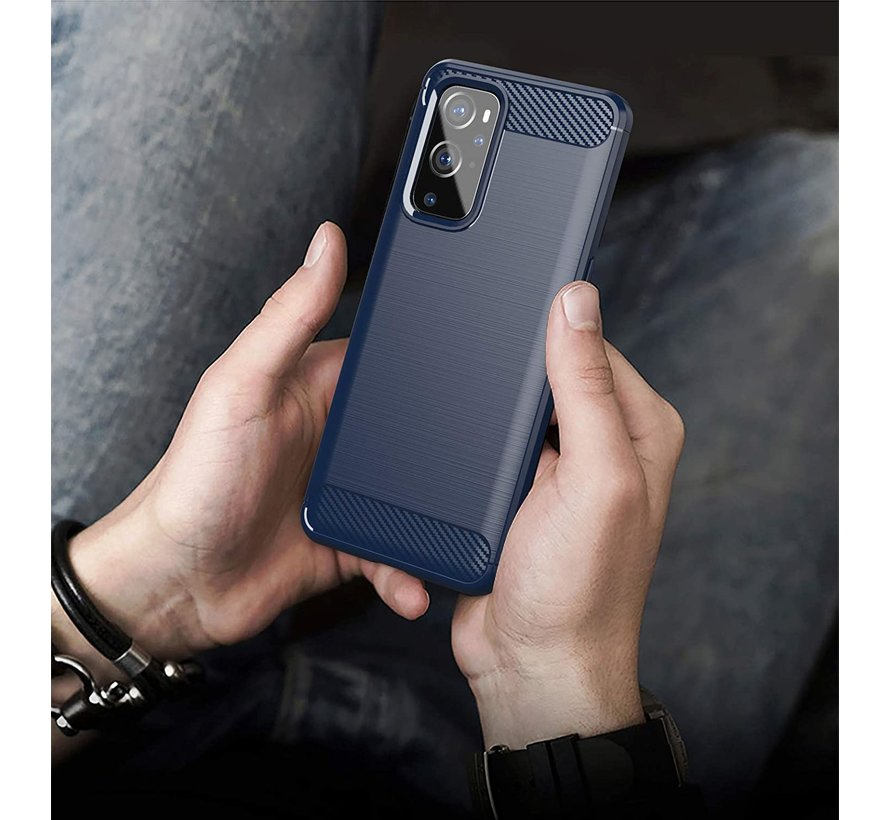 OnePlus 9 Hoesje Brushed Carbon Blauw
