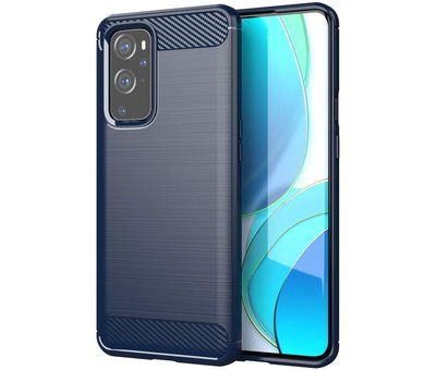 OPPRO OnePlus 9 Hoesje Brushed Carbon Blauw