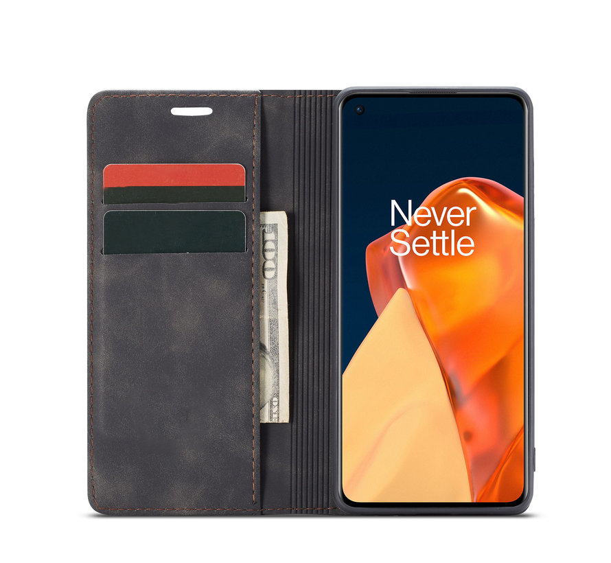 OnePlus 9 Brieftasche Vintage Leder Schwarz