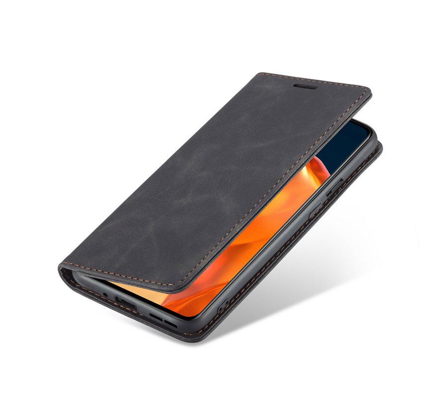 OnePlus 9 Wallet Hoesje Vintage Leder Zwart