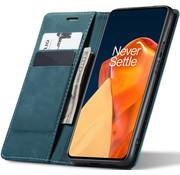 OPPRO OnePlus 9 Wallet Hoesje Vintage Leder Blauw